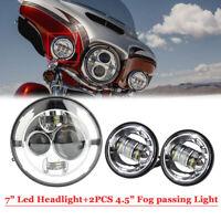 "Chrom 7"" LED Scheinwerfer Hi/Low Beam mit Projektor+2pcs Nebel für Harley Bobber"