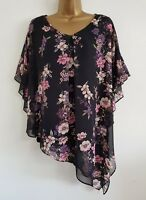 NEW DP Plus Size 18-28 Batwing Chiffon Black Floral Printed Tunic Top Blouse