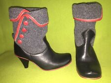 Black Leather & Grey Felt Fly London Ankle Boots with Red Button & Trim detail 6