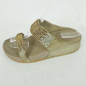 Fitflop Ladies Beige Crystal Embellished Comfort Slide Sandals UK 5 EUR 38