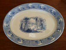 Antique Oval 19x14 BLUE & WHITE Transferware Turkey Platter Istanbul Scenes
