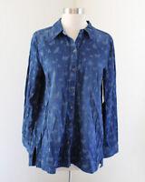 J Jill Butterfly Print Denim Chambray Button Front Blouse Shirt Size S