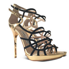 NEW $976 JIMMY CHOO Bunting Metallic Caged Strappy Sandals - Gold - Size 36.5