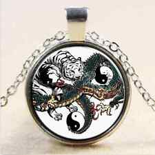 NEW Dragon Fight With Tiger Yin Yang Tai Chi Glass Art Pendant Chain Necklace,