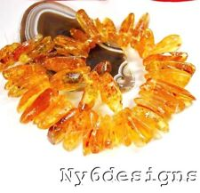 """28x18x6mm-45x12x10mm Natural Golden Amber Branch Spacer Loose Beads 15"""" (AM37)f"""