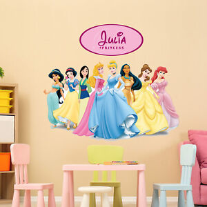 All Princess Personalised Disney Vinyl Wall Sticker Girls Room Inside/outside