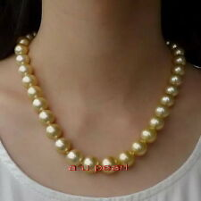 "ROUND AAAAA 20""11-12MM NATURAL real south sea golden yellow pearl necklace 14K"