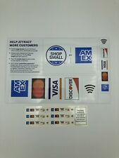 🔥Lot Of 2 Credit Card Logo Pos Decal Stickers Amex MasterCard Visa Discover Tap