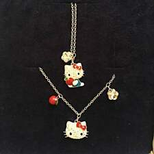 Swarovski Kitty Necklace & Bracelet Set Apple Authentic From Japan F/S NEW