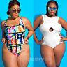 Plus Size Women's Padded Monokini Bikini One Piece Swimwear Bathing Swimsuit