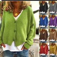 Ladies Girl Knitted Coat Cardigan Button Loose Jumpers Sweater&Long Sweater Coat