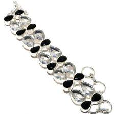 """White Topaz, Black Onyx Gemstone 925 Sterling Silver Bracelet 7-8""""AZ"""