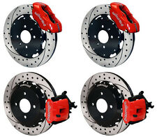 "WILWOOD DISC BRAKE KIT,HONDA CIVIC,COUPE,HB,SEDAN,11"" DRILLED ROTORS,RED CALIPER"