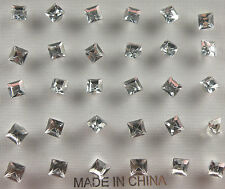 15 Stud Earrings Crystal Clear Color Square Shape