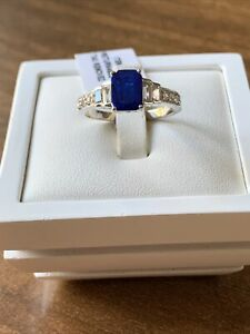 Blue Spinel & White Zircon Platinum Overlay 925 Sterling Silver Ring Size Q