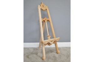 Antique Vintage Style Mahogany Wood Hand Carved Wooden Easel Unfinished 102cm