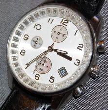 Fossil Women's Chrono w/ Date Glitz Crystal Black Leather Watch FS4403 NEW BATT!