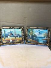 Pair Of Framed Unsigned Small Oil Paintings