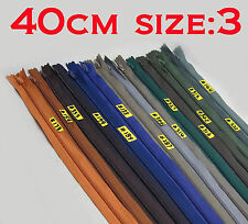 "- New - Nylon Dress Zip/Zipper (16"") 40cm Assorted Colours Closed End Sewing"