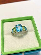 Judith Ripka Sterling Silver Blue Topaz & Peridot Ring Size 8 Brand New