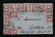 NEDERLAND 1919 enveloppe naar London met 13 x NVPH 51 incl. brief