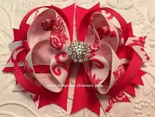 Hot Pink White Damask Jeweled Hair Bow 4 1/2""