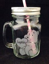 Personalised Teddy Bear Drinking Jar - New - Handmade - Any Name