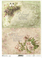 Rice Paper for Decoupage Scrapbooking, Vintage Roses Bird Sweet Home ITD R730