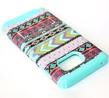 Samsung Galaxy Note 5 - HARD&SOFT RUBBER HYBRID CASE MINT BLUE PINK AZTEC TRIBAL