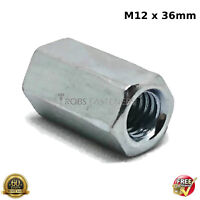 HEX CONNECTION NUTS M12 12mm HEXAGON CONNECTOR ROD BAR STUD LONG NUT ZINC PLATED