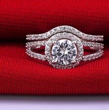 2.15CT Off White Moissanite Ring Bridal Engagement Ring Set 925 Silver Sterling