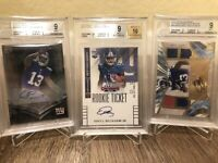3 LOT AUTO RC Odell Beckham Jr. 2014 BGS MINT 9 ROOKIE Topps Panini JERSEY