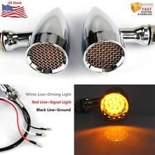 2x Amber Motorcycle Bullet Blinker Turn Signal Lights For Bobber Chopper Cruiser