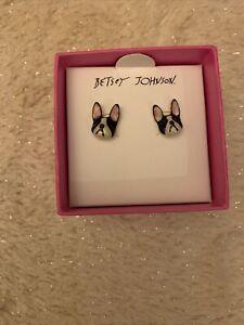 NIB - Betsey Johnson French Bulldog Frenchie Black & White Stud Pierced Earrings