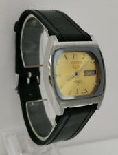 Vtg 1981 Seiko 5 Automatic 6309-561A Date TV Shape Gold Faced Gents Wrist Watch