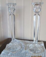 "Crystal Clear Glass Pedestal Taper Candle Holders 8.5"" w/ Hexagon Base Set of 2"
