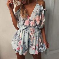 Womens Summer Boho Floral Playsuit Rompers Jumpsuit Beach Shorts Mini Dress