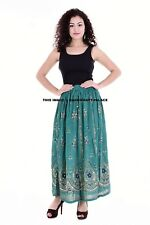 Rayon Leaf Print Womens Skirt Indian Gypsy Costume Boho Peasant Sequin Work Maxi