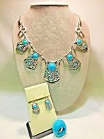 HEIRLOOM Silvertone Faux Turquoise Necklace Earring Ring Set - Artsy Southwest