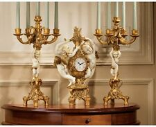 Ornate 3 Pc Set Cherub Quartz Clock and Candelabra Baby Angel Candle Holders NEW