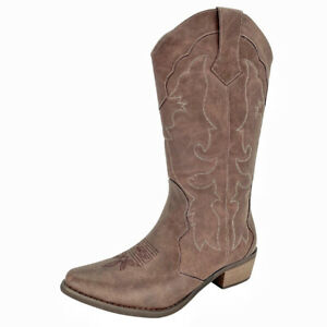 SheSole Mid Calf Western Boots for Women Low Heel Snip Toe Brown Cowboy Boots