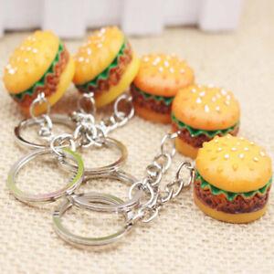 Popular Simulation Food Resin Hamburger key Ring - 3D Burger Keychain Pendant