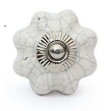 White Crackle 4 pcs. ceramic door knob cupboard drawer puller Handle Furniture