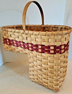 "Handmade Rustic Country Woven Wicker Stair Step Basket 13"" Deep Dark Red + Tan"