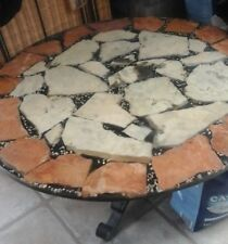 Coffee Table Round Marble Effect Actual Rocks Stones imbedded in top 1950 1970's