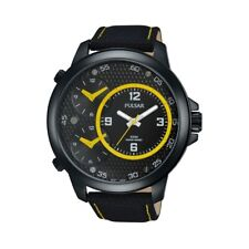 Pulsar Mens Watch Large 48mm 3 Dial 3 Time 100M Leather Strap Model PX8005X1