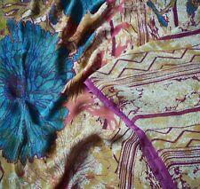 Vintage Saree 100% Pure Georgette Silk Printed Sari Fabric Sewing 5yd Soft Deco