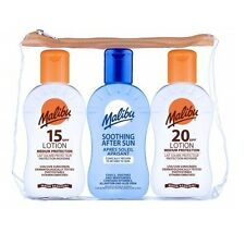 Malibu Sun Protection Water Resistant After Sun Lotion Travel Bag SPF 10 15 20 Dry Oil Spray - Dm957 Bag