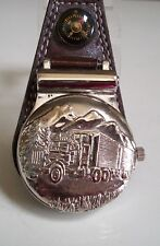 Men's 18 Wheeler Truck  Clip On Brown Leather Band/Silver Tone Pocket Watch