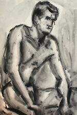 Vintage modernist watercolor painting nude man portrait
